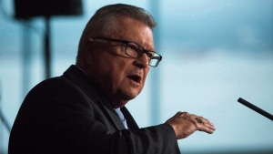 Ralph Goodale, Minister of Public Safety and Emergency Preparedness, speaks to media in Vancouver, on Tuesday September 5, 2017. (Ben Nelms / THE CANADIAN PRESS)