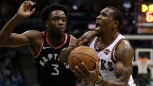 Milwaukee Bucks' Eric Bledsoe tries to drive on Toronto Raptors' OG Anunoby during the second half of an NBA basketball game Friday, Jan. 5, 2018, in Milwaukee. (AP Photo/Morry Gash)
