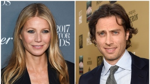 "In this combination photo, Gwyneth Paltrow attends the WSJ. Magazine 2017 Innovator Awards in New York on Nov. 1, 2017, left, and executive producer/writer Brad Falchuk appears at the premiere of ""American Horror Story: Hotel"" in Los Angeles on Oct. 3, 2015. Paltrow, 45, announced her engagement to Falchuk on Instagram on Monday, Jan. 8, 2018. (Photos by Evan Agostini, left, and Chris Pizzello/Invision/AP)"