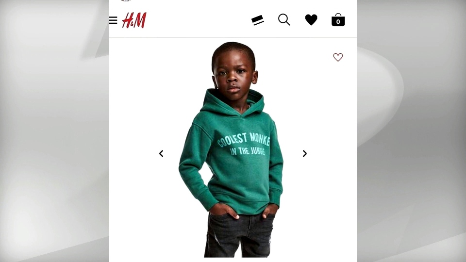 """An H&M ad featuring a young black model in a sweatshirt with the words """"Coolest monkey in the jungle"""" is pictured."""