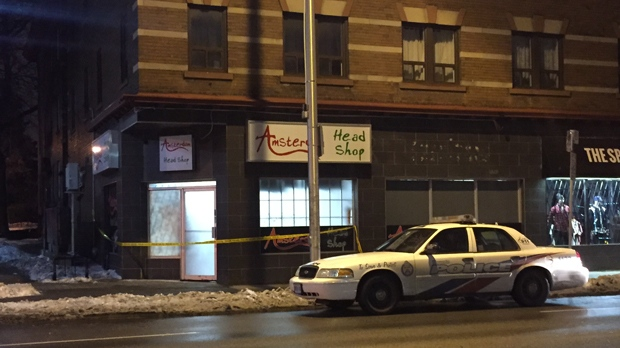 Police are investigating a robbery at the Amsterdam Head Shop. (Mike Nguyen/ CP24)