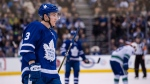 Toronto Maple Leafs defenceman Travis Dermott (3) takes the ice during first period NHL hockey action against the Vancouver Canucks in Toronto on Saturday, January 6, 2018. THE CANADIAN PRESS/Christopher Katsarov