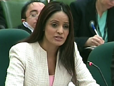 Brampton-Springdale MP Ruby Dhalla testifies before a parliamentary committee in Ottawa, Tuesday, May 12, 2009.
