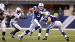 Indianapolis Colts quarterback Josh Freeman (5) scrambles against the Tennessee Titans during the first half of an NFL football game in Indianapolis, Sunday, Jan. 3, 2016. (AP Photo/Darron Cummings)