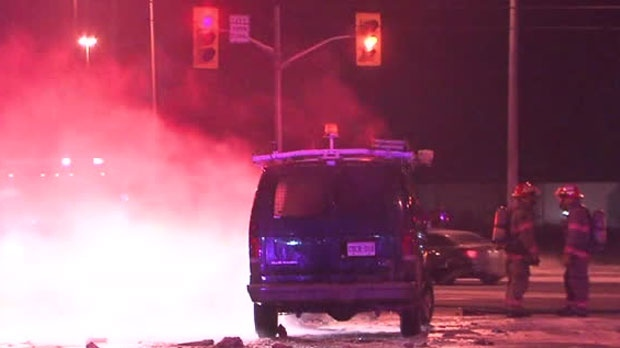 Police were called to the scene of a fiery crash in Brampton overnight.