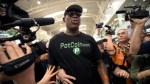 Former NBA basketball player Dennis Rodman arrives at Beijing Capital International Airport in Beijing, Tuesday, June 13, 2017. North Korea is expecting another visit by former NBA bad boy Rodman on Tuesday in what would be his first to the country since President Donald Trump took office.  (AP Photo/Mark Schiefelbein)
