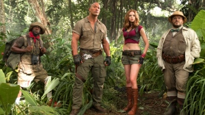 "This file image released by Sony Pictures shows Kevin Hart, from left, Dwayne Johnson, Karen Gillan and Jack Black in ""Jumanji: Welcome to the Jungle.""  (Frank Masi/Sony Pictures via AP, File)"