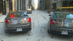 A pedestrian was struck by a vehicle in the Financial District on Jan. 5, 2018.