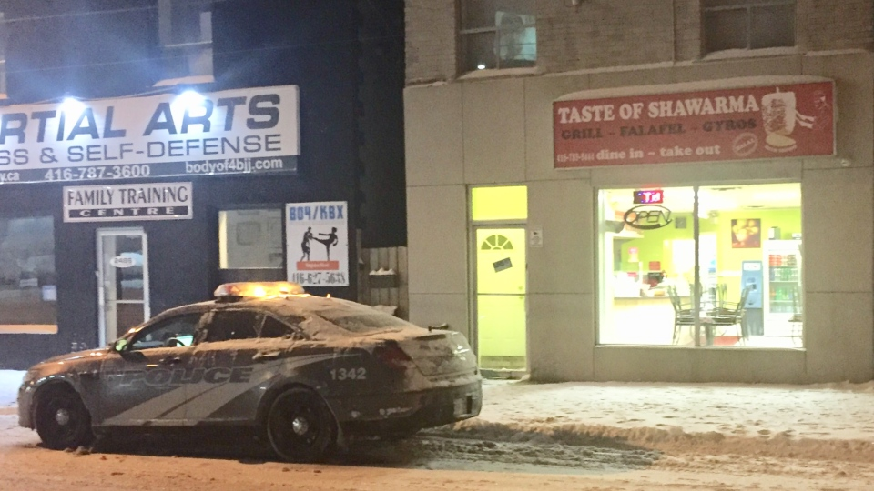 Police are searching for a suspect after a robbery at a restaurant in Briar Hill-Belgravia. (Mike Nguyen/ CP24)