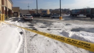 The scene outside a plaza at Keele and Lawrence avenues where a newborn baby was found abandoned in below freezing temperatures. (Cristina Tenaglia/CP24)