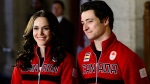 Prime Minister Justin Trudeau announces Canadian figure skaters Tessa Virtue and Scott Moir as Canada's flag bearers during an event in Ottawa, Ont., on Tuesday, Jan. 16, 2018. Ice dance darlings Tessa Virtue and Scott Moir will carry Canada's flag into the opening ceremony at next month's Winter Games in South Korea. THE CANADIAN PRESS/Sean Kilpatrick