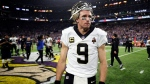 New Orleans Saints quarterback Drew Brees (9) walks off the field after a 29-24 loss to the Minnesota Vikings in an NFL divisional football playoff game in Minneapolis, Sunday, Jan. 14, 2018. The Vikings defeated the Saints 29-24. (AP Photo/Jeff Roberson)