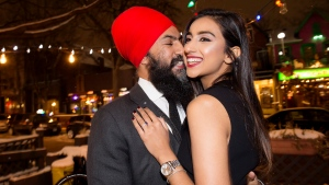NDP Leader Jagmeet Singh poses with Gurkiran Kaur after proposing at an engagement party in Toronto, Tuesday January 16, 2018. THE CANADIAN PRESS/Frank Gunn