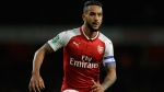In this Tuesday, Oct. 24, 2017 file photo, Arsenal's Theo Walcott watches for the ball during their English League Cup soccer match between Arsenal and Norwich at the Emirates Stadium in London. Theo Walcott has joined Everton in a bid to reignite his career after 12 years at Premier League rival Arsenal. Everton announced the signing of the 28-year-old winger on Wednesday, Jan. 17, 2018. (AP Photo/Alastair Grant, file)