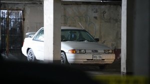 The vehicle belonging to Holly Hamilton is seen after it was discovered by police.
