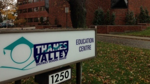 The headquarters of the Thames Valley District School Board is seen in London, Ont. on Wednesday, Oct. 28, 2015. (Bryan Bicknell / CTV London)