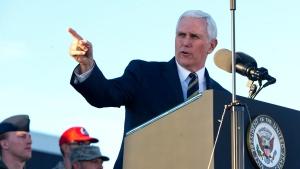 Vice President Mike Pence speaks during a visit to Nellis Air Force Base near Las Vegas, Thursday, Jan. 11, 2018. (Steve Marcus/Las Vegas Sun via AP)