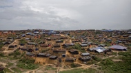 In this Oct. 19, 2017 file photo, a then setup refugee camp for Rohingya Muslims, who crossed over from Myanmar into Bangladesh, is seen in an aerial view in Thaingkhali, Bangladesh. (AP Photo/Dar Yasin, File)