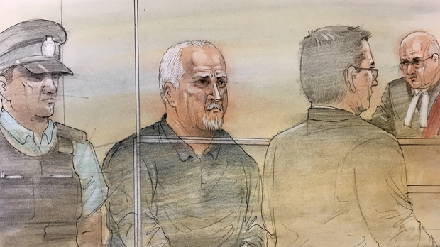 Bruce McArthur, 66, is shown in a courtroom sketch on Jan. 19, 2018. (John Mantha)