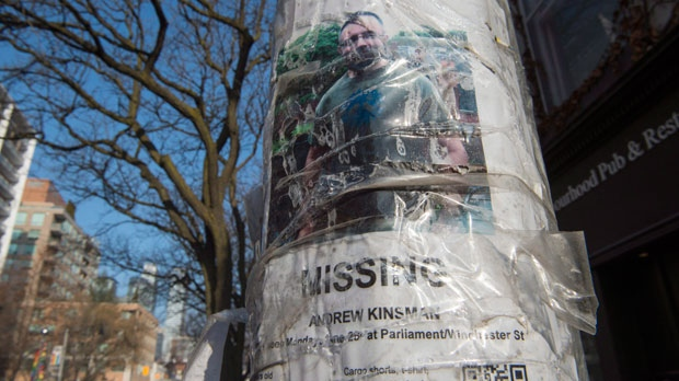 A worn missing poster for Andrew Kinsman is taped to a pole in the Church and Wellesley neighbourhood in Toronto on Friday January 19, 2018. Bruce McArthur, a 66-year-old Toronto man, was arrested and charged yesterday as part of an investigation into the disappearance of Selim Esen and Andrew Kinsman. THE CANADIAN PRESS/Frank Gunn