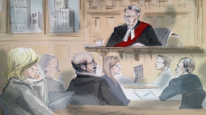 The courtroom for the gas plant trial is shown in this sketch. (Alexandra Newbould)