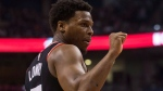 Toronto Raptors guard Kyle Lowry signals during second half NBA basketball action against the San Antonio Spurs in Toronto on Friday, January 19, 2018. THE CANADIAN PRESS/Chris Young