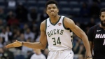 Milwaukee Bucks' Giannis Antetokounmpo reacts after a 24-second violation during the first half of an NBA basketball game against the Miami Heat Wednesday, Jan. 17, 2018, in Milwaukee. (AP Photo/Morry Gash)