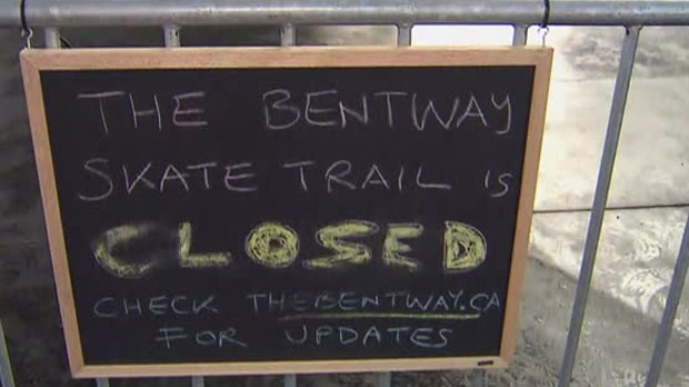 The Bentway skating trail remains closed Sunday due to mild weather.