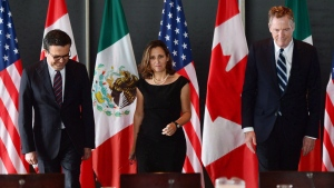 Minister of Foreign Affairs Chrystia Freeland meets for a trilateral meeting with Mexico's Secretary of Economy Ildefonso Guajardo Villarreal, left, and Ambassador Robert E. Lighthizer, United States Trade Representative, during the final day of the third round of NAFTA negotiations at Global Affairs Canada in Ottawa on Wednesday, Sept. 27, 2017. Canada will be hosting an annoyed and angry United States as the sixth round of talks in the North American Free Trade Agreement renegotiation unfold over the coming week. THE CANADIAN PRESS/Sean Kilpatrick