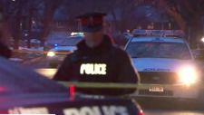 Toronto police investigate a shooting that left one person critical in the area of Rathburn Road and The Westmall Sunday January 21, 2018.