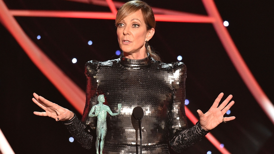 "Allison Janney accepts the award for outstanding performance by a female actor in a supporting role for ""I, Tonya"" at the 24th annual Screen Actors Guild Awards at the Shrine Auditorium & Expo Hall on Sunday, Jan. 21, 2018, in Los Angeles. (Photo by Vince Bucci/Invision/AP)"
