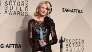 "Nicole Kidman, winner of the award for outstanding performance by a female actor in a television movie or limited series for ""Big Little Lies"", poses in the press room at the 24th annual Screen Actors Guild Awards at the Shrine Auditorium & Expo Hall on Sunday, Jan. 21, 2018, in Los Angeles. (Photo by Jordan Strauss/Invision/AP)"