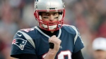 New England Patriots quarterback Tom Brady pumps his fist after a touchdown run by running back James White during the first half of the AFC championship NFL football game against the Jacksonville Jaguars, Sunday, Jan. 21, 2018, in Foxborough, Mass. (AP Photo/Charles Krupa)