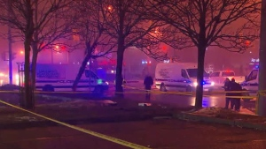 Police respond to a hit-and-run collision in Brampton January 21, 2018.