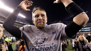 Philadelphia Eagles' Nick Foles celebrates after the NFL football NFC championship game against the Minnesota Vikings Sunday, Jan. 21, 2018, in Philadelphia. The Eagles won 38-7 to advance to Super Bowl LII. (AP Photo/Matt Rourke)