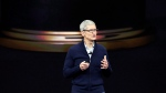 Apple CEO Tim Cook, shows new Apple Watch Series 3 product at the Steve Jobs Theater on the new Apple campus on Tuesday, Sept. 12, 2017, in Cupertino, Calif. Apple chief executive Tim Cook is visiting Canada for the first time, making a surprise drop-in for Toronto students to promote the company's initiative to focus on coding education.THE CANADIAN PRESS/AP, Marcio Jose Sanchez