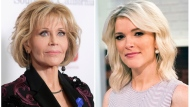 "In this combination photo, Jane Fonda appears at the 2017 ACLU SoCal's Bill of Rights Dinner in Beverly Hills, Calif., on Dec. 3, 2017, left, and Megyn Kelly poses on the set of her new show, ""Megyn Kelly Today"" in New York on Sept, 21, 2017. (Photos by Richard Shotwell, left, Charles Sykes/Invision/AP)"