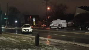 A pedestrian struck by a vehicle in Newmarket was rushed to hospital with life-threatening injuries on Monday night. (Mike Nguyen/ CP24)