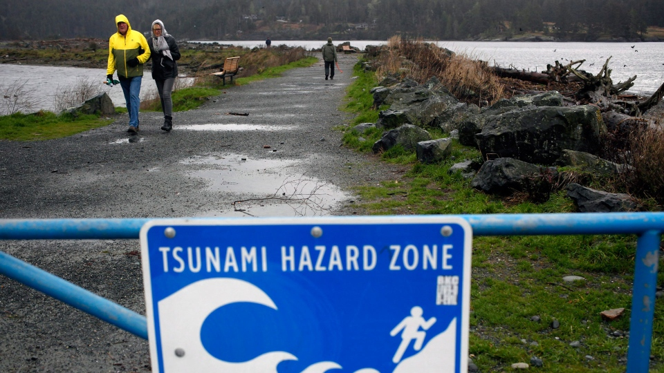 A couple walk along Whiffin Spit Park following a tsunami warning in Sooke, B.C., on Tuesday, January 23, 2018. THE CANADIAN PRESS/Chad Hipolito