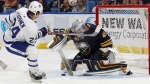 Buffalo Sabres goalie Robin Lehner (40) stops Toronto Maple Leafs forward Kasperi Kapanen (24) during the second period of a preseason NHL hockey game, Saturday Sept. 23, 2017, in Buffalo, N.Y. (AP Photo/Jeffrey T. Barnes)
