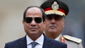 In this Oct. 24, 2017 file photo, Egyptian President Abdel-Fattah el-Sissi attends a military ceremony in the courtyard at the Hotel des Invalides in Paris, France. (Charles Platiau, Pool via AP, File)