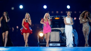 "In this Sunday, Aug. 12, 2012 file photo, British band 'The Spice Girls' perform during the Closing Ceremony at the 2012 Summer Olympics, in London. All five former members of the Spice Girls have met up amid rumors of a plan to reunite the girl-power group.Photos posted by several group members on social media showed Victoria ""Posh Spice"" Beckham, Melanie ""Sporty Spice"" Chisholm, Emma ""Baby Spice"" Bunton, Melanie ""Scary Spice"" Brown and Geri ""Ginger Spice"" Horner. They had been seen earlier Friday, Feb. 2, 2018 arriving at Horner's home north of London, along with former manager Simon Fuller. (AP Photo/Matt Dunham, file)"