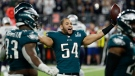 Philadelphia Eagles' Kamu Grugier-Hill celebrates during the second half of the NFL Super Bowl 52 football game against the New England Patriots, Sunday, Feb. 4, 2018, in Minneapolis. (AP Photo/Matt York)