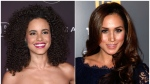 "In this combination photo, actress Parisa Fitz-Henley attends the 5th annual People Magazine ""Ones To Watch"" party on Oct. 4, 2017, in Los Angeles, left, and actress Meghan Markle attends the USA Network and The Moth's ""A More Perfect Union: Stories of Prejudice and Power"" event in West Hollywood, Calif. on Feb. 15, 2012. Fitz-Henley will portray Markle in the Lifetime film, ""Harry & Meghan: The Royal Love Story."" (AP Photo)"