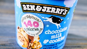 This photo provided by Ben & Jerry's shows the company's low-calorie chocolate milk and cookies ice cream. Ben & Jerry's is the latest big brand to launch a slimmed-down version of its frozen treats. (Courtesy of Ben & Jerry's via AP)