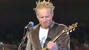 In this Sept. 19, 2005 file photo, Matthew Roberts of Three Doors Down performs at halftime of the New York Giants New Orleans Saints game in East Rutherford, N.J. (AP Photo/Bill Kostroun, File)