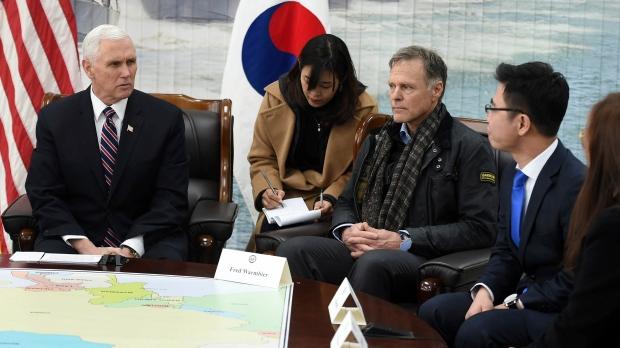 Hasil gambar untuk Vice President Mike Pence lead the American Presidential Delegation at the 2018 Olympic Winter Games in South Korea