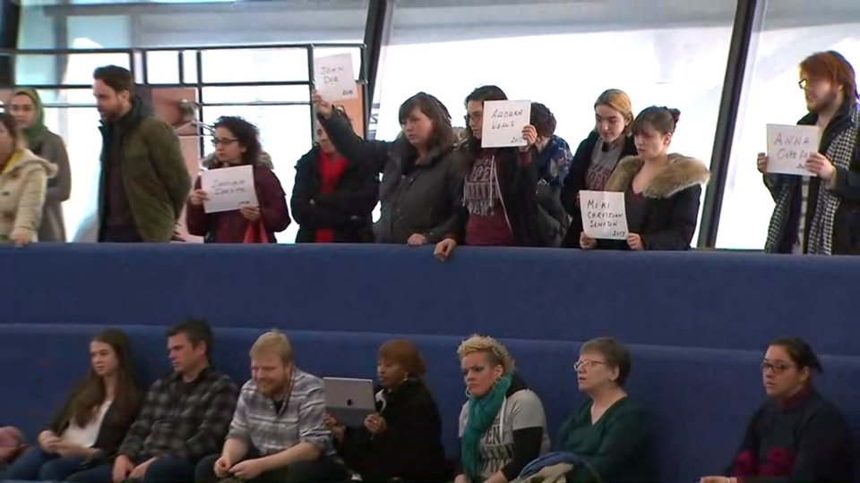 OCAP held a protest in council chambers, demanding more shelter beds.