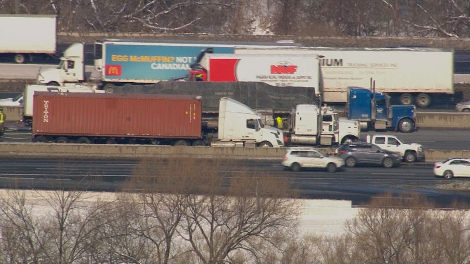 The scene of a multi-vehicle collision on Highway 401 near Weston Road is pictured.