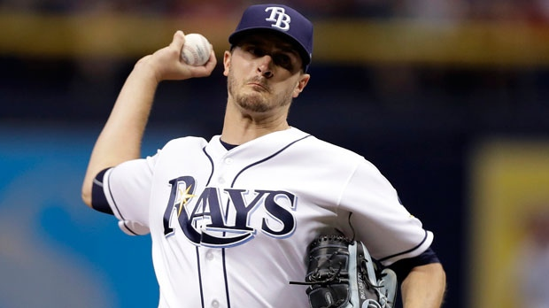 In this June 19, 2017, file photo, Tampa Bay Rays starting pitcher Jake Odorizzi delivers to the Cincinnati Reds during the first inning of a baseball game in St. Petersburg, Fla. (AP Photo/Chris O'Meara, File)